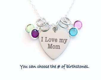 I love my Mom Necklace, Mother's Day Present Jewelry, with multiple birthstones Gift, 1 2 3 4 5 6 7 8 9 from children kids for Valentine's