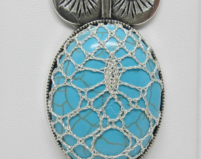 Featured listing image: Bobbin Lace Owl Pendant: Blue Stone with Metallic Silver Thread Overlay