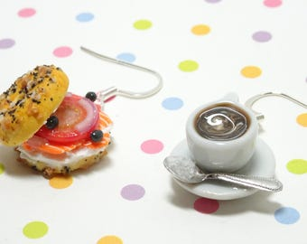 Bagel Earrings, Coffee Earrings, Polymer Clay Charm, Food Jewelry, Food Earrings, Miniature Food Charm, Mismatched Earrings, Gift for her