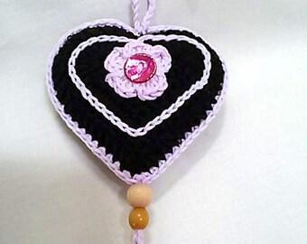 Heart key chain, charms, crochet cotton