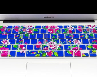 """Keyboard Cover Silicone Skin for MacBook Pro 13"""" 15"""" 17"""" (with or w/out Retina Display) iMac and MacBook Air 13"""" (Rose with Blue)"""