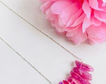 Titanium quartz necklace, quartz necklace, fuchsia quartz, natural stone necklace, crystal quartz necklace, gemstone beads, quartz pendant