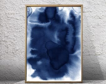 Blue Abstract Watercolor Print Indigo Navy Wall Art Splatter Minimalist Art Painting Download Printable Poster Nordic Scandinavian Minimal