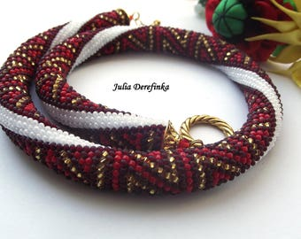 Red beaded necklace, bead crochet rope, beaded crocheted necklace with triangles  - READY TO SHIP