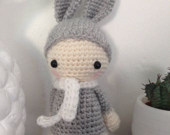"Little Pixie Doll ""lutinou"" grey rabbit"