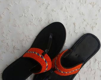 maasai sandals, beaded sandals, handmade sandals, orange shoes, gift for her