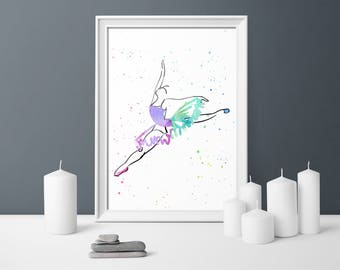 Ballet dancer, watercolour, digital print, girls room, printable, gift for her, instant download