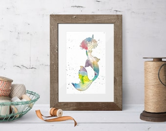 Watercolor mermaid, digital prints, under the sea, mermaid decor, printable, wall decor, gift for her, instant download, watercolor, mermaid