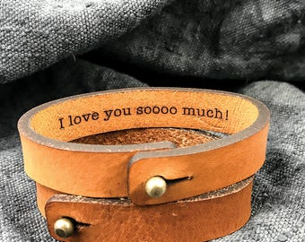 Leather bracelet for men, Valentines gift idea for Boyfriend, Hidden Message Bracelet, Leather bracelets for him, Leather anniversary gift
