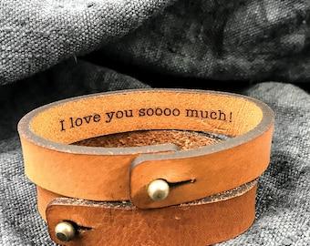 Leather bracelet for men, Wedding gift idea for Boyfriend, Hidden Message Bracelet, Leather bracelets for him, Leather anniversary gift
