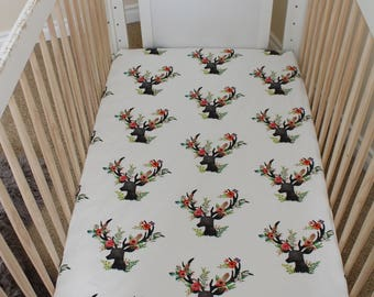 Floral Deer bedding, floral deer, baby girl bedding, tribal baby, girl deer, boho deer, boho baby, crib bedding, nursery bedding, crib sheet