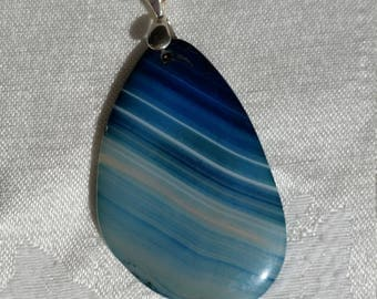 Blue Agate Necklace, natural stone pendant