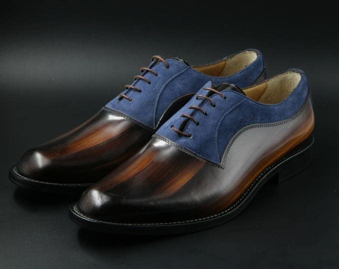 Leather man patina shoes, wood effect, navy suede, Oxford, hand painted. made in Italy