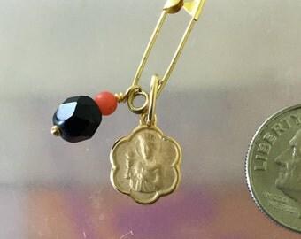 14kt solid  gold  virgin Saint Barbara   medal pendant /14kt gold vingin Saint Bárbara charm/stones azabache pendant//catholic jewelry