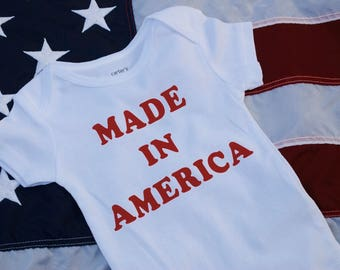 Made In America Baby Bodysuit, Cute 4th of July Gift!