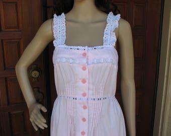 Vintage Pink Sundress, Pink Maxi Dress, Young Edwardian by Arpeja, BoHo Dress, Hippie Dress, Festival Wear, 70s Summer Dress