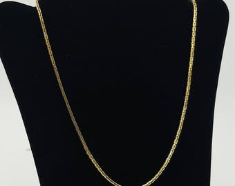 "Vintage Signed Monet Gold Tone Box Link Chain 17"" Necklace"