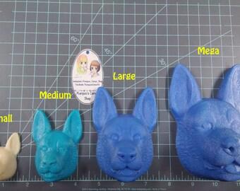 German Shepard Plastic Mold or Silicone Mold, bath bomb mold, soap mold, dog mold, resin mold, dog head mold, 3d mold, puppy mold, shepherd