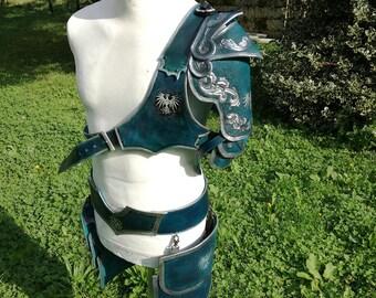 Leather armor with eagle hawk leather spaulder pauldron belt tassets light warrior larp cosplay theater armor medieval fantasy