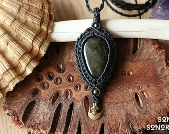 macrame gold obsidian necklace with brass beads and ornaments black
