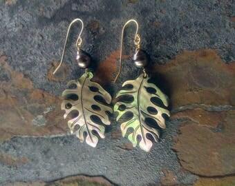 Tahitian Pearl Monstera Earrings, mother of pearl