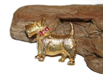 Scotty Dog Pin, Scotty Dog Brooch, Gold Toned Scottish Terrier Jewelry, Gold and Red, Lapel Pin, Dog Jewelry, Dog Brooch, Gift for Dog Lover