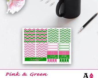 Pink + Green Chevron Mini Kit of Planner Stickers for Happy Planner, Erink Condren Planner, and KiKi K Planner