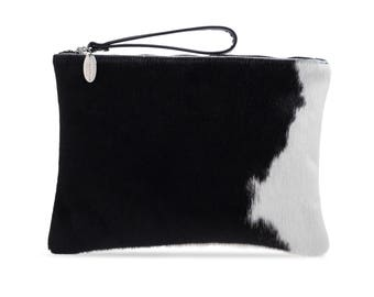 Cowhide Clutches  | Predominantly Black | Exact Bag you Will Receive