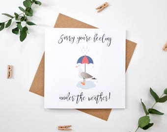 Get Well Soon Card - Sorry you're feeling under the weather - Seagull with Umbrella Greetings Card - Hospital/Illness/Surgery