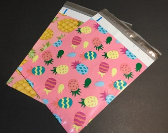 50 10x13 PINEAPPLE and Easter PINEAPPLE Designer Poly Mailers 25 each Envelopes Shipping Bags Spring