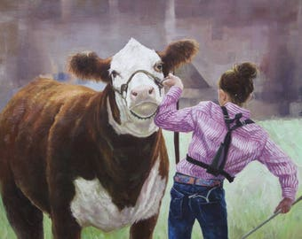 Custom Cow Painting. Cow Art. Cowgirl Painting. Cow Decor. Cowgirl Art. Western Painting of Cow. Custom Pet Portrait. Cow Oil Painting