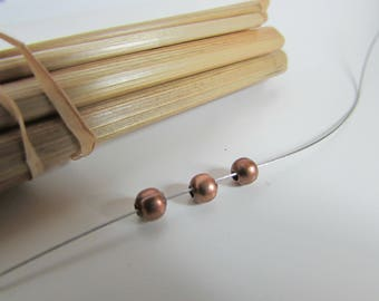 50 bead round 4mm copper metal - hole 1 mm - ref 65.34