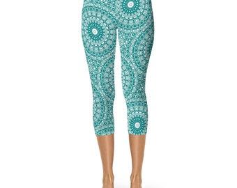 Teal Capris Yoga Leggings, Teal Leggings, Cropped Yoga Pants