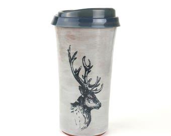 Elk travel mug with lid handmade pottery grey glaze