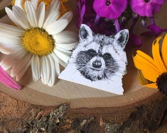 adorable hand drawn trash panda pin, gift for her