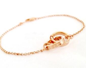 Personalized Linked Circles Bracelet | Infinity bracelet | Coordinates GPS | Best friends | bridesmaids | 2 3 4 sisters
