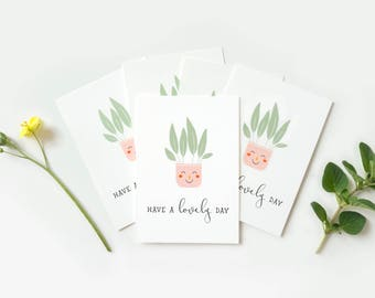 Set of 5 tiny cards with plants, pack of small note cards nice day, happy plants cards, whimsical mini cards, pack of gift tags with plant