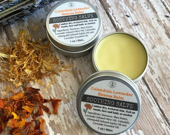 Lavender Calendula Rescue Balm SOOTHING SALVE with Organic Beeswax, Marigold infused Olive Oil, Jojoba Oil, Shea Butter and Essential Oils.