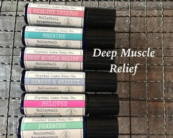 DEEP MUSCLE RELIEF Rollerball Aromatherapy Essential Oil Blend Organic / Clove Helichrysum Peppermint Wintergreen