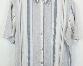 Vintage shirt, 80s clothing, shirt 80s, blue and white stripes, short sleeves, oversized