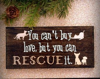 Rescue Cat / Dog Love - Hand-stained Wooden Block with Vinyl Lettering