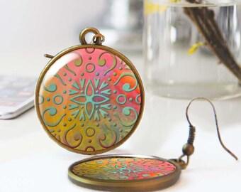 Tile earrings, Moroccan earrings, Ethnic earrings, Geometric earrings, Bohemian jewelry, Wearable art, Boho earrings, Personalized, 5118-5