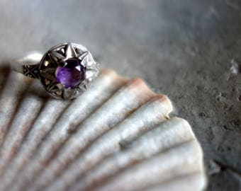 Ring-Art Deco-with purple stone-stamped-from pattern collection-Resolution jewelry store