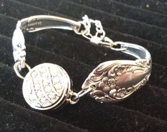 Sterling Silver Chateau Rose Spoon Bracelet ~ Snap Bracelet ~ Spoon Jewelry ~ Spoon Bracelet ~ Vintage ~ Handcrafted ~ Elegant