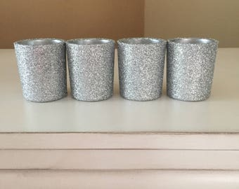 Silver Glitter votive candle holders, Set of 12 votive holders, candle holder, candle, wedding centerpiece, wedding decorations