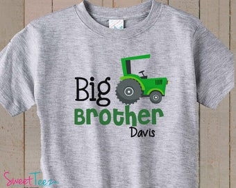 Big Brother Shirt Green Tractor Shirt Toddler Boy Personalized Kid's Shirt Pregnancy Announcement