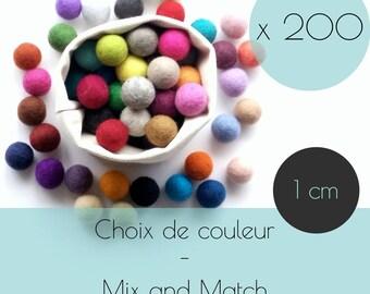 200 Felt balls/1 cm/wool pompom/DIY/bulk/choice of color/multicolor/felting/wholesale/creative project/Québec/Canada
