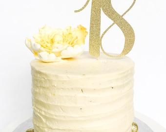 18 Birthday Cake Topper • Eighteen Cake Topper • Gold Glitter Topper • Age Cake Topper • Number Cake Topper