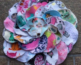 Ready to Ship, 30+Free 4pc Gift, Cats, Reusable Face Rounds, Makeup Remover Pad Washcloth Face Scrubby Wipes, Flannel