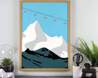 Mountains Print - A3, A4 Wall Art - Winter Skiing - Snowy Mountains Landscape - Home Decor Poster